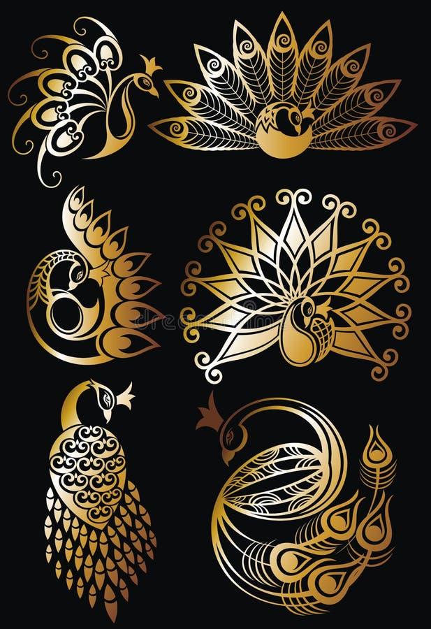 Pauwvector in goud wordt geplaatst dat royalty-vrije illustratie