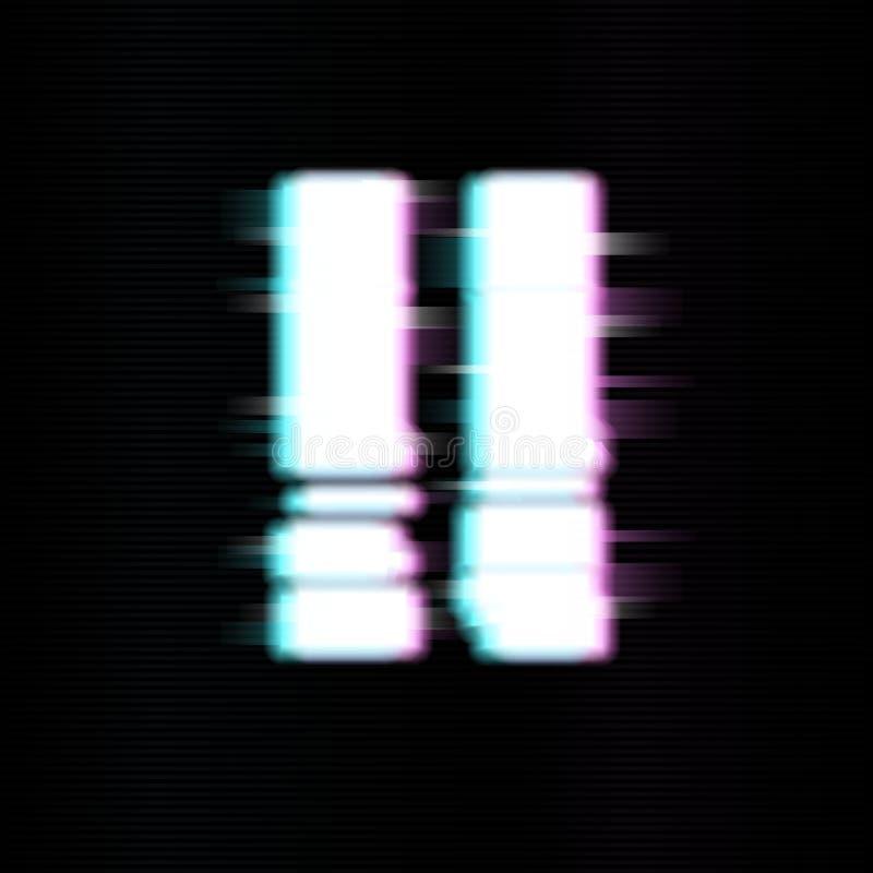 Pauzeknopen in glitch stijl Abstract minimaal malplaatjeontwerp voor het brandmerken Moderne achtergronddekkingsaffiches, banners stock illustratie