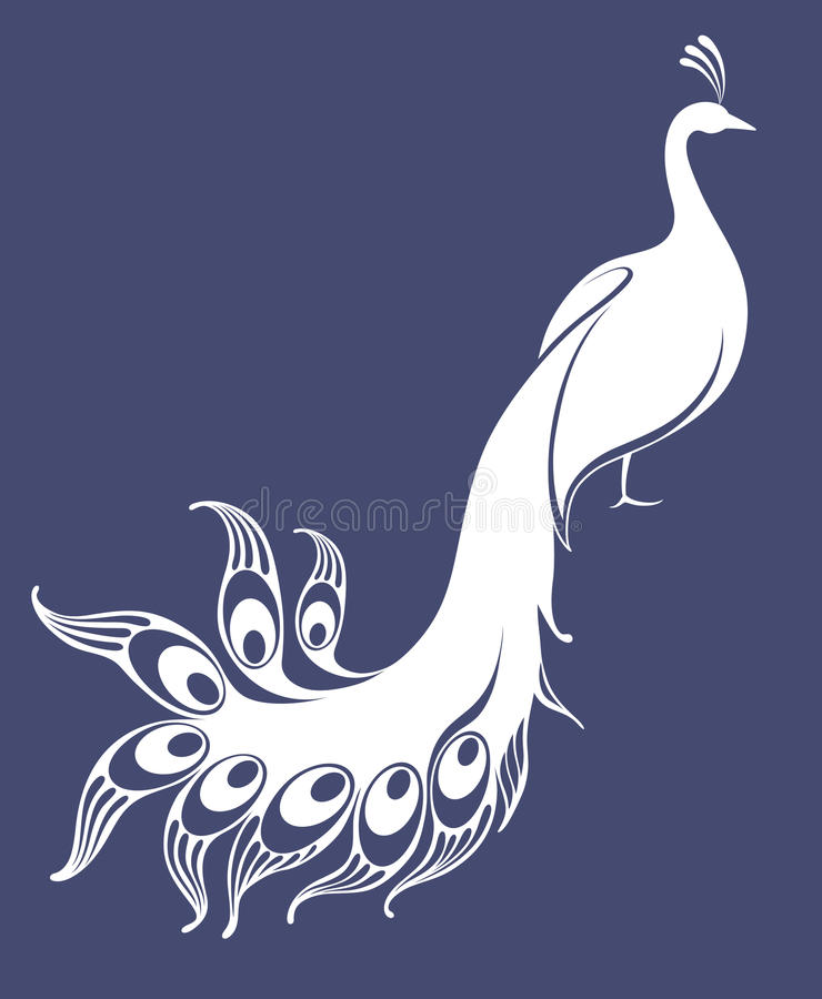 Pavão branco ilustração stock