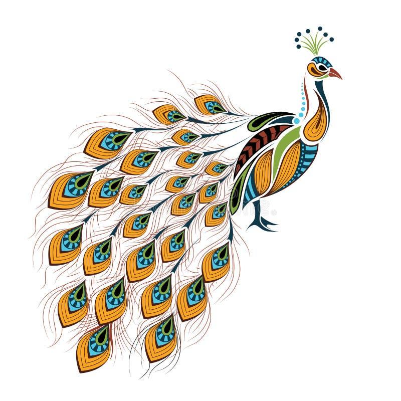 Pavão colorido modelado Projeto africano/indiano/totem/tatuagem ilustração stock