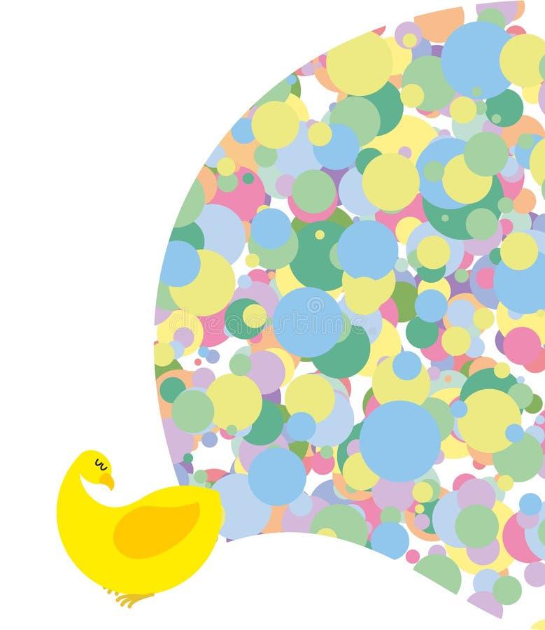 Pavão com a cauda brilhante colorida Pássaro exótico estilizado ilustração royalty free