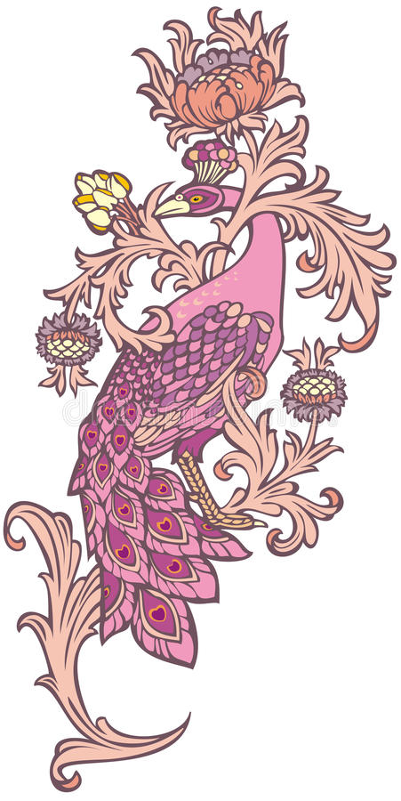 Pavão cor-de-rosa ilustração do vetor
