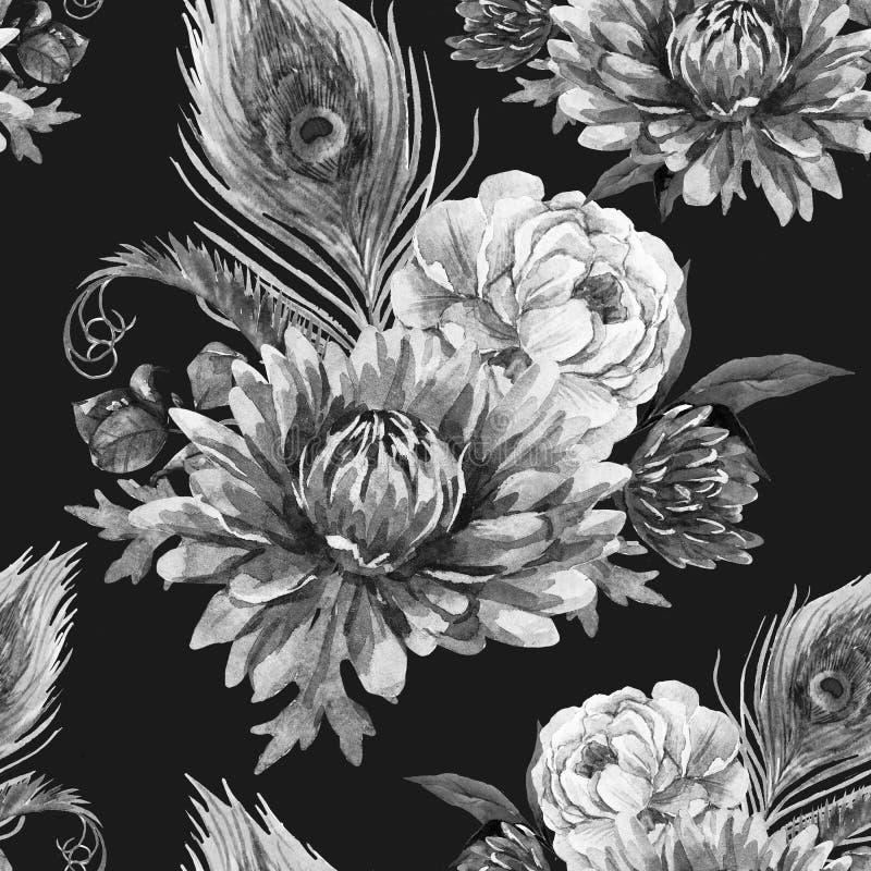 Pavão da aquarela e teste padrão de flores ilustração do vetor