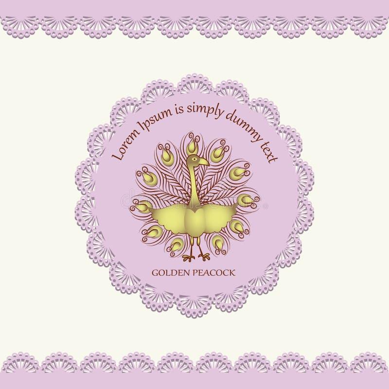 Pavão dourado em um guardanapo cor-de-rosa ilustração stock
