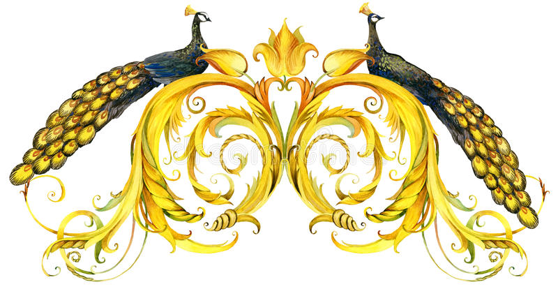 Pavão e beira dourada do laço fundo da aquarela da onda do vintage ilustração do vetor