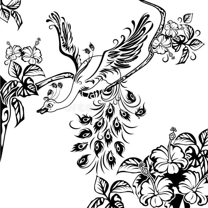 Pavão em uma filial de árvore ilustração do vetor