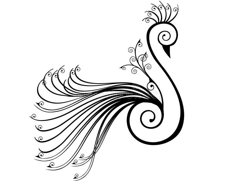 Pavão estilizado nos redemoinhos ilustração royalty free