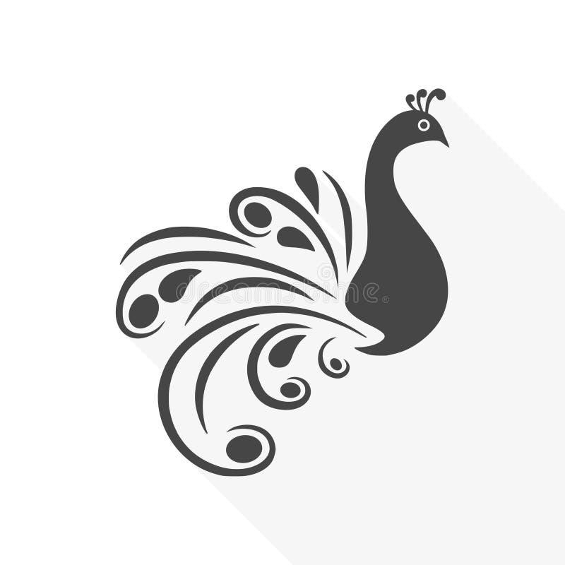 Pavão - ilustração do vetor com sombra longa ilustração stock