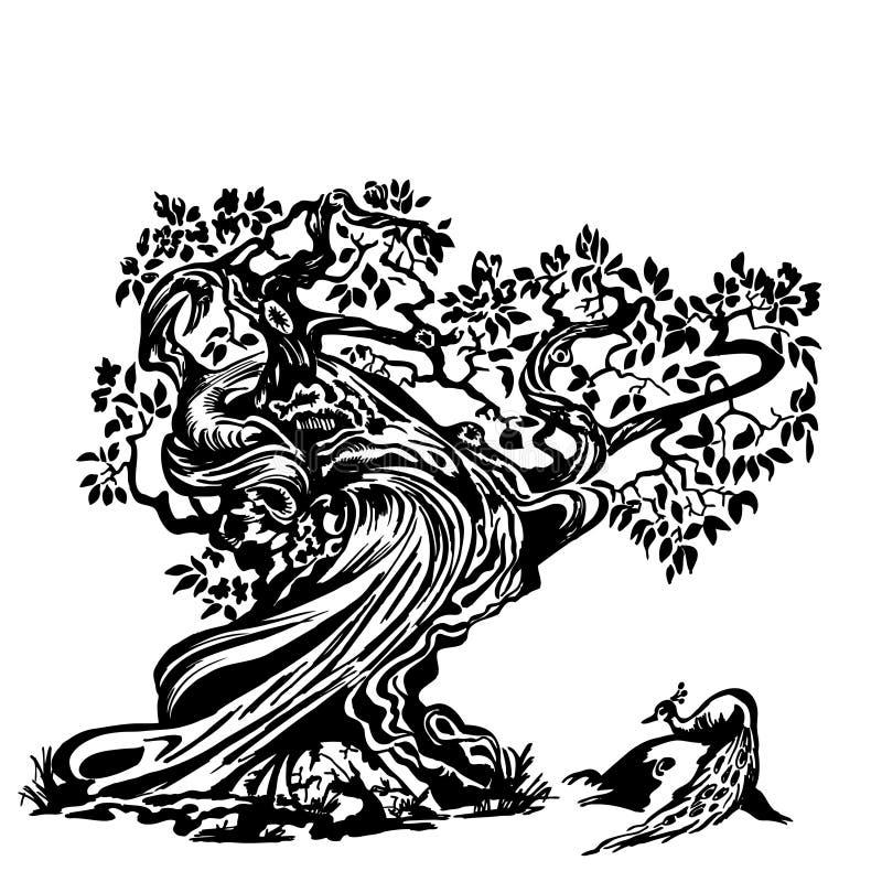Pavão na árvore ilustração do vetor