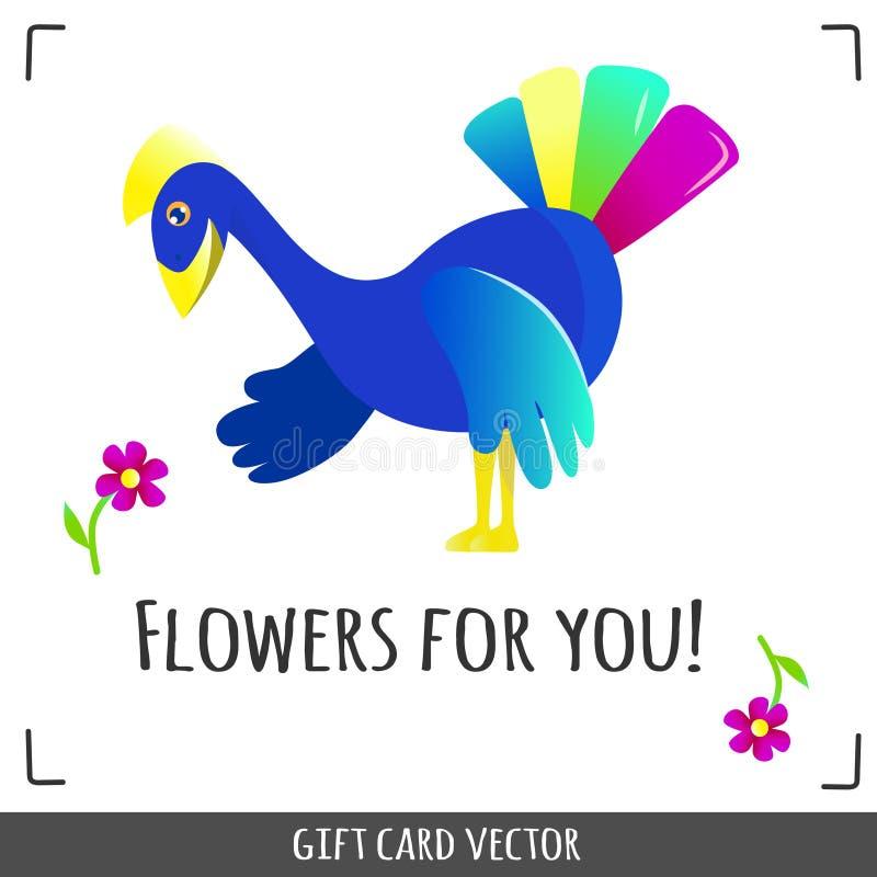 Pavão que escolhe uma flor ilustração stock
