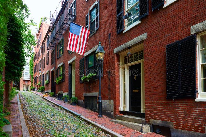 Pavé rond Boston de Beacon Hill de rue de gland photo stock