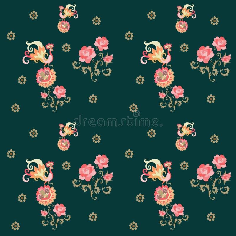 Pavões e flores Teste padrão sem emenda floral bonito Cópia do verão ilustração do vetor