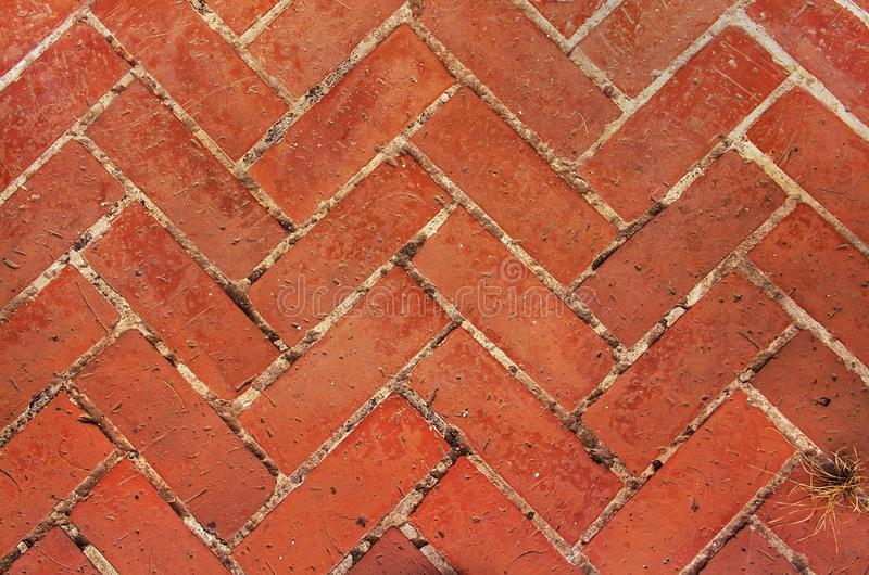 Paved footpath. Old red brick paving on a sidewalk. Abstract background.  royalty free stock image