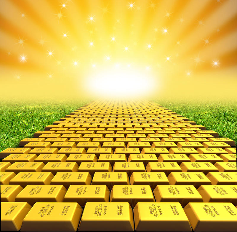 Paved with gold. Golden path symbol represented by a road paved with gold bars representing the concept of success and financial freedom from debt