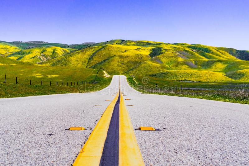 Paved highway going through mountains covered in wildflowers, Carrizo Plain National Monument area, Central California stock photo