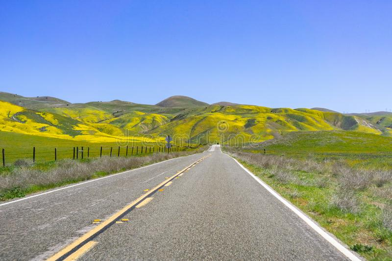 Paved highway going through mountains covered in wildflowers, Carrizo Plain National Monument area, Central California stock image