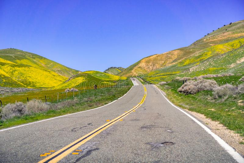 Paved highway going through mountains covered in wildflowers, Carrizo Plain National Monument area, Central California stock photography