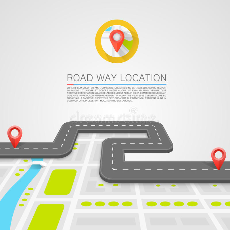 Paved path on the road vector illustration