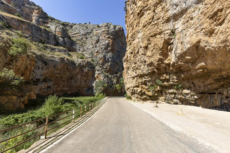 Paved road in the canyon of the Mesa river next to Jaraba. Town, province of Zaragoza, Aragon, Spain stock image