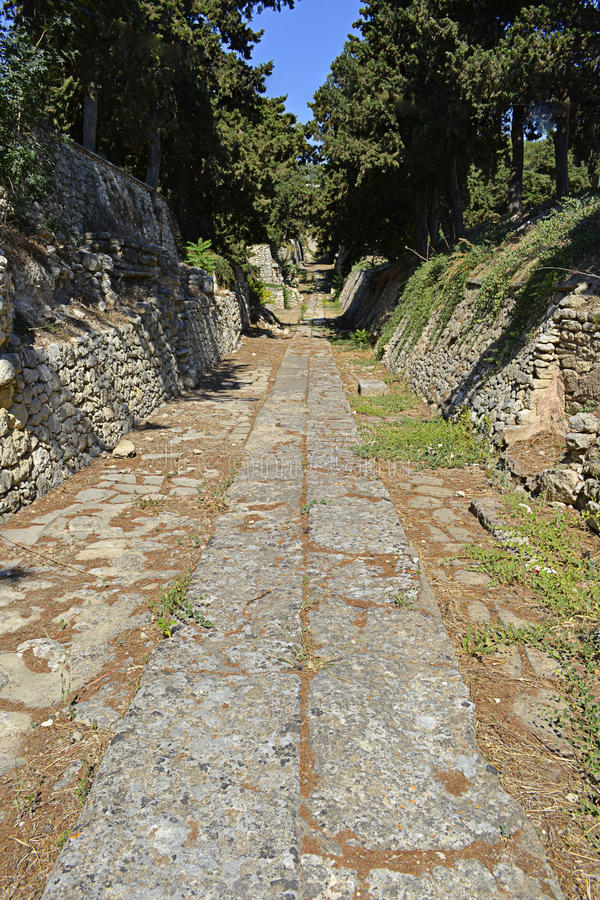 Paved road in Knossos, Crete, Greece stock photography