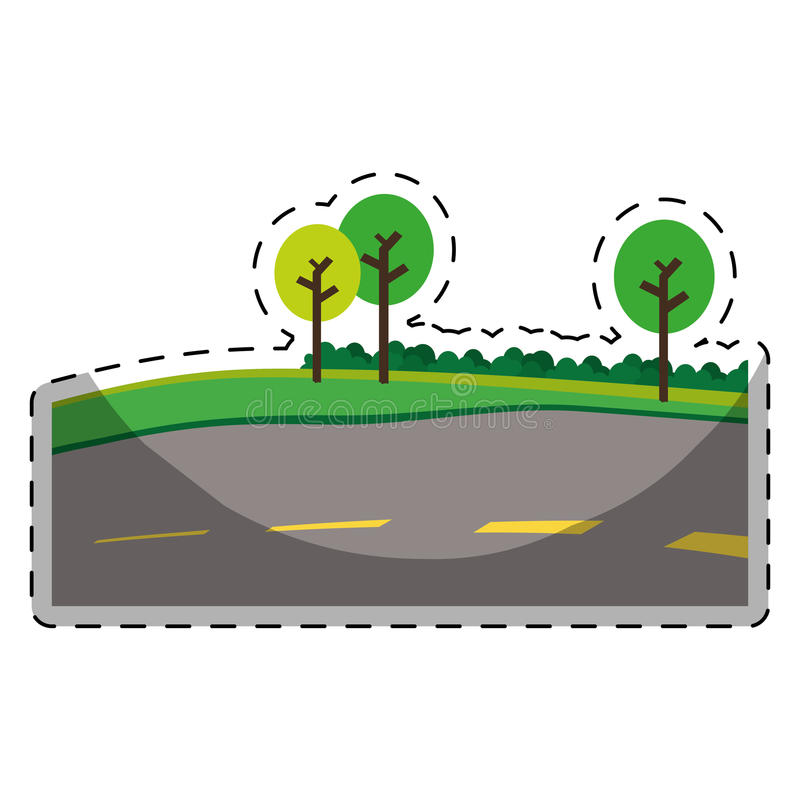 Paved road with trees on the roadside icon image. Illustration design stock illustration