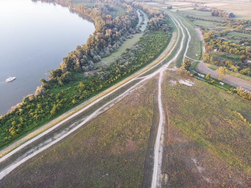 Paved roads by the Danube river side. Beautiful and amazing nature by the Danube river stock image