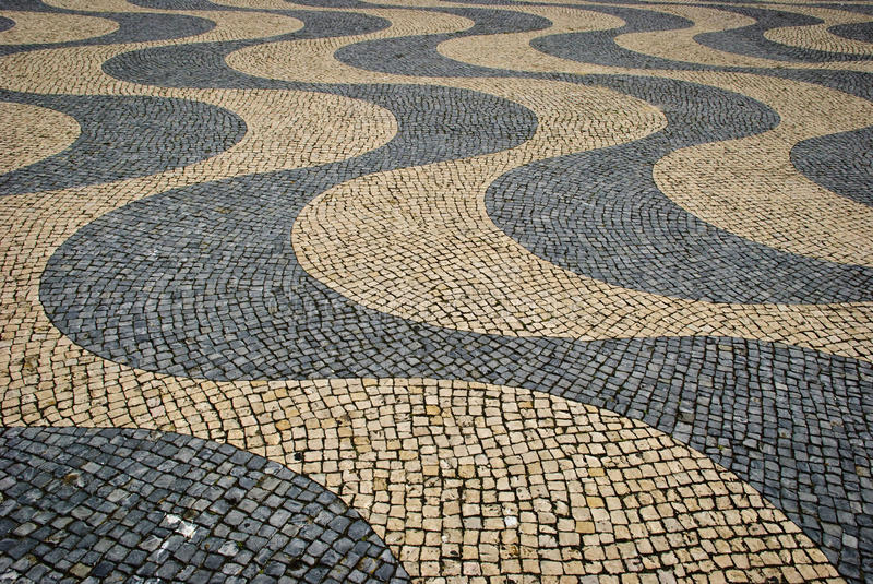 Paved sidewalk with pattern. Of vawes stock images