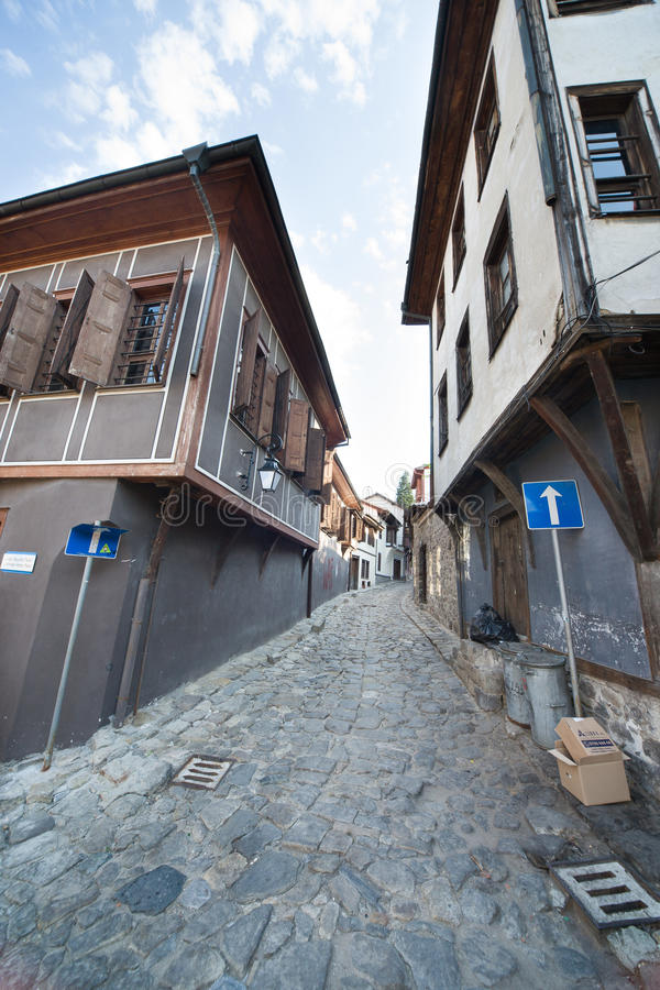 Paved stone Ancient Street Plovdiv in Bulgaria royalty free stock photography