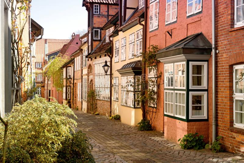 Luneburg paved street stock photo