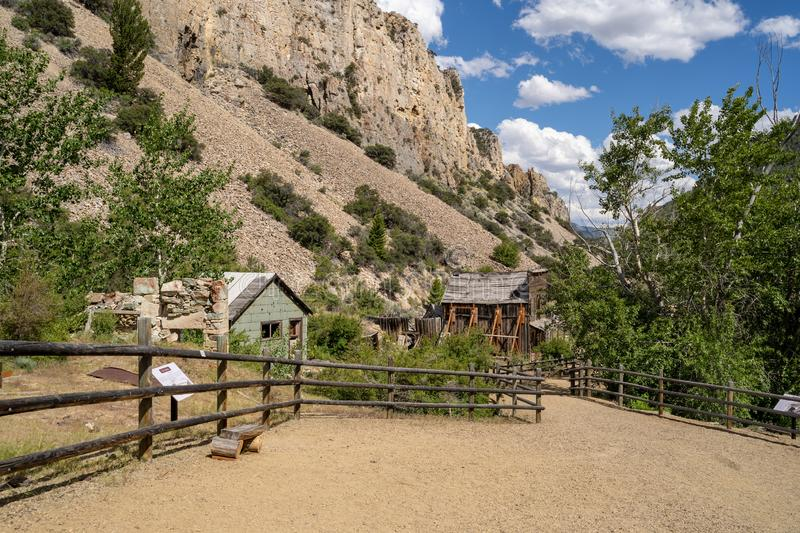 Paved walking trails in the Bayhorse Ghost Town, in the Salmon-Challis National Forest of Idaho royalty free stock image