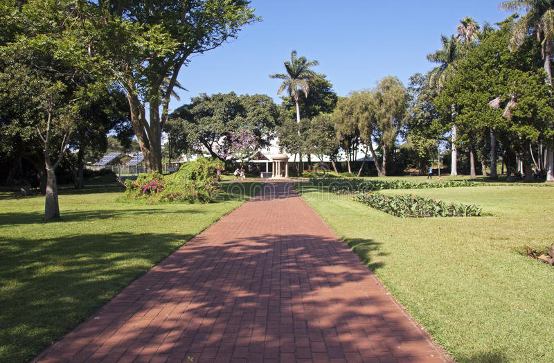 Paved Walkway at Botanical Gardens in Durban South Africa. DURBAN, SOUTH AFRICA - APRIL 24, 2016: Four unknown people at paved pedestrian walkway at Botanical royalty free stock photography