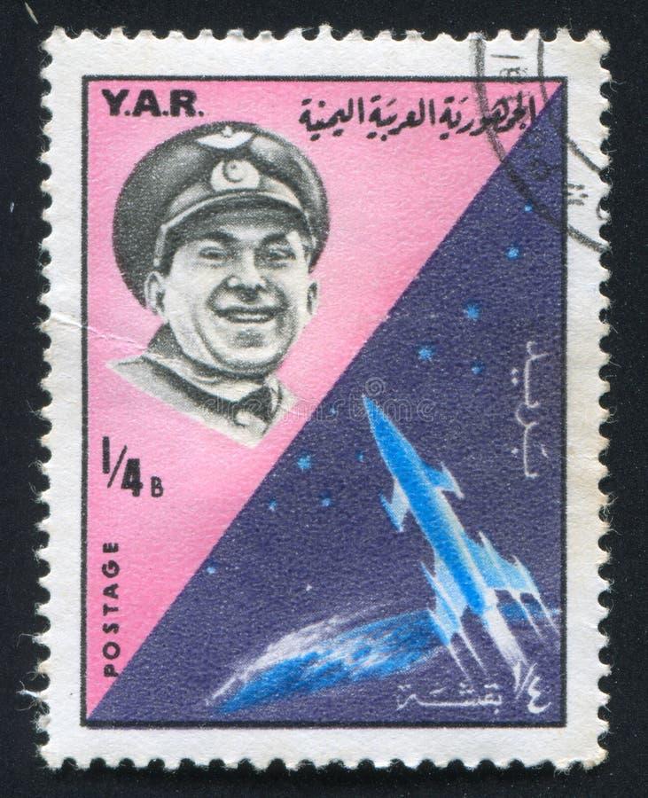 Pavel Beljaev et fusée image libre de droits