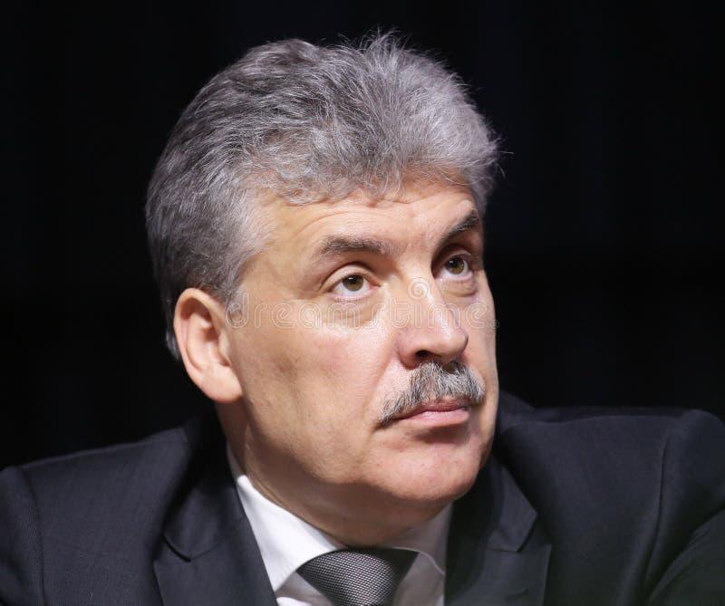 Pavel Grudinin een kandidaat voor de post van voorzitter van de Russische Federatie stock foto