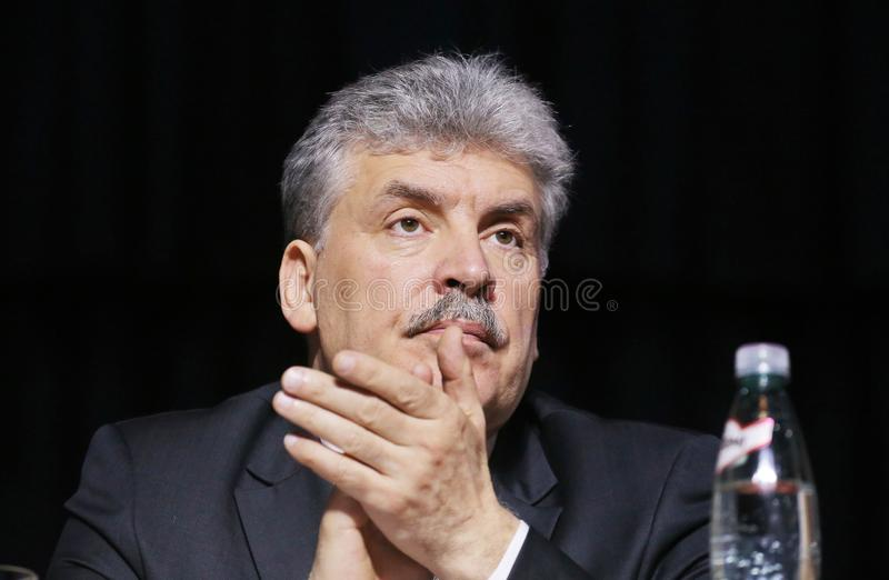 Pavel Grudinin um candidato para o cargo do presidente da Federação Russa fotografia de stock royalty free
