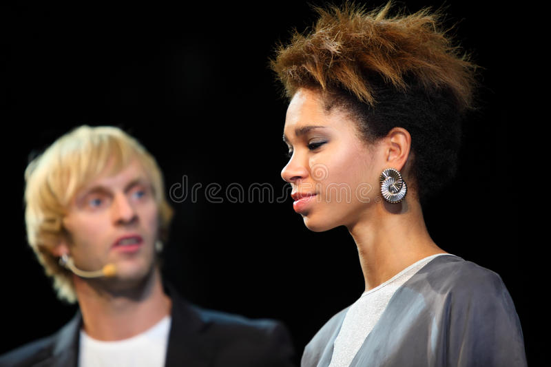 Download Pavel Sobolev Shows Model With His Hairstyle Editorial Stock Image - Image: 22261694
