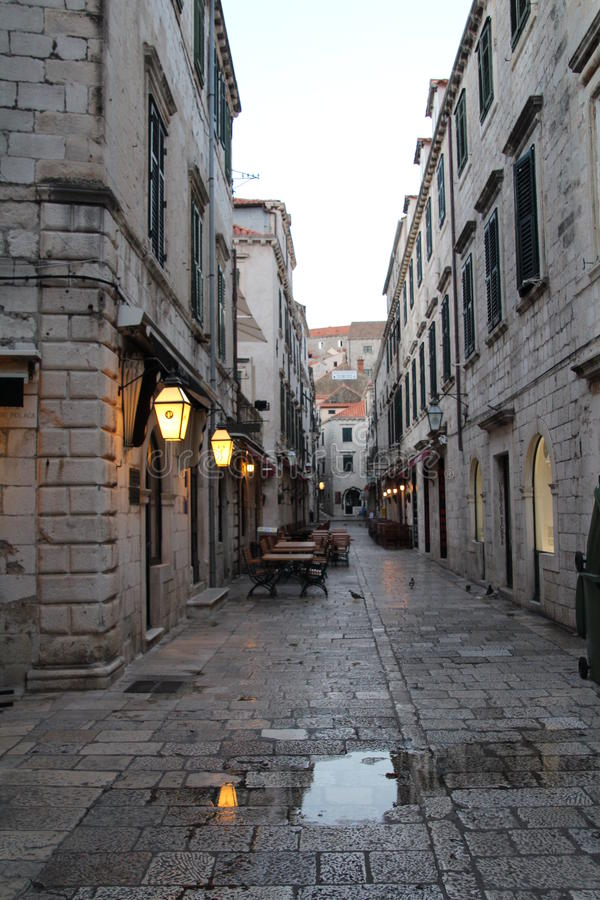 Pavement Cafe. Outside seating in Dubrovnik old town. There are many of these pavement cafes in the narrow streets of the walled citadel stock photos
