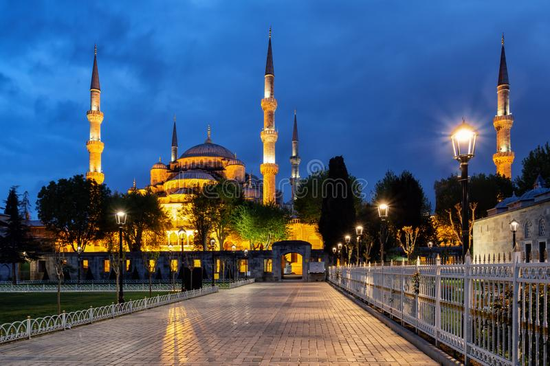 Pavement in front of the Blue Mosque at night. Sultan Ahmed Mosque and the pavement in front of it under the starry sky. Istanbul, Turkey.r stock image