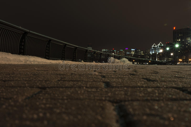 Pavement. Night. Winter royalty free stock images