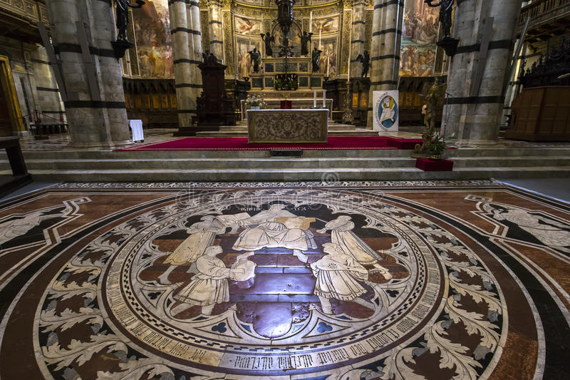 The Pavement Of Siena Cathedral Siena Italy Editorial