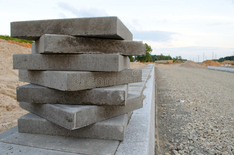 Pavement tiles on new sidewalk. New road works royalty free stock images