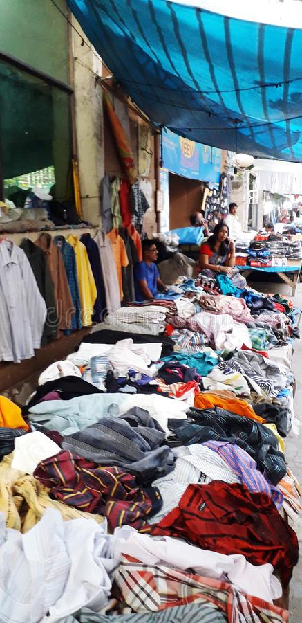 Garments seller. On the pavements of central Kolkata royalty free stock images