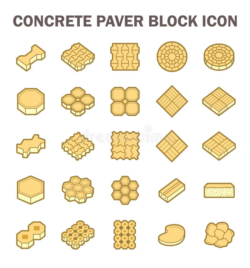 Paver block icon. Concrete paver block floor vector icon set royalty free illustration