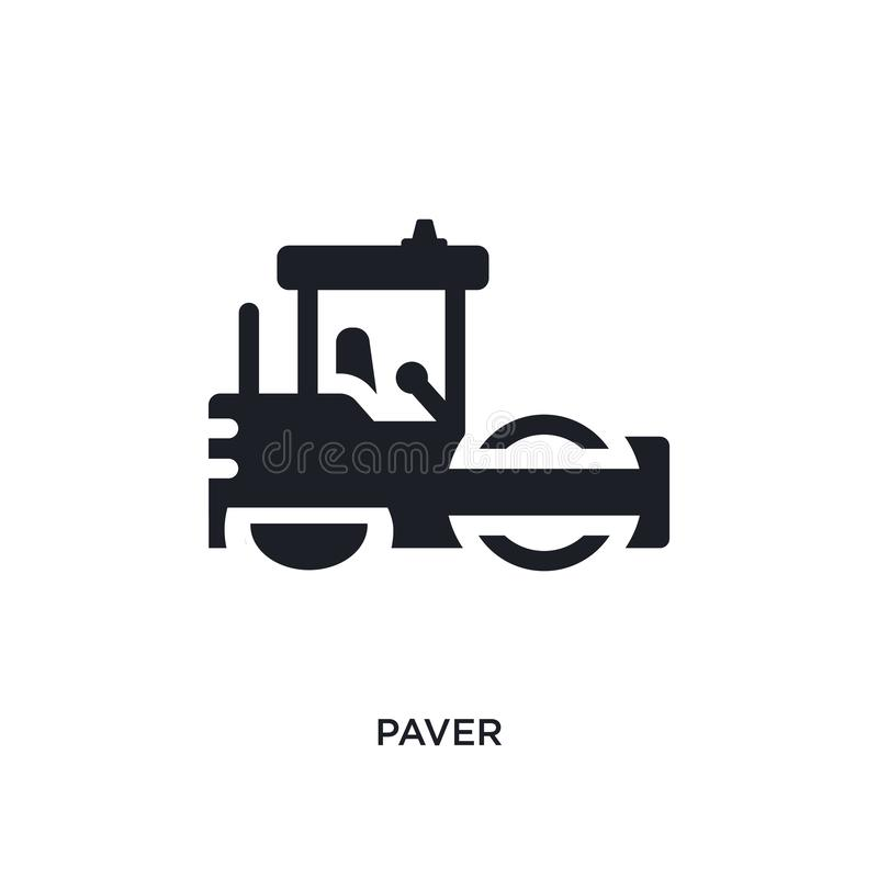 paver isolated icon. simple element illustration from construction concept icons. paver editable logo sign symbol design on white vector illustration