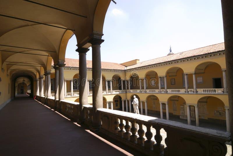 Pavia (Italien), domstol av det historiska universitetet royaltyfria bilder