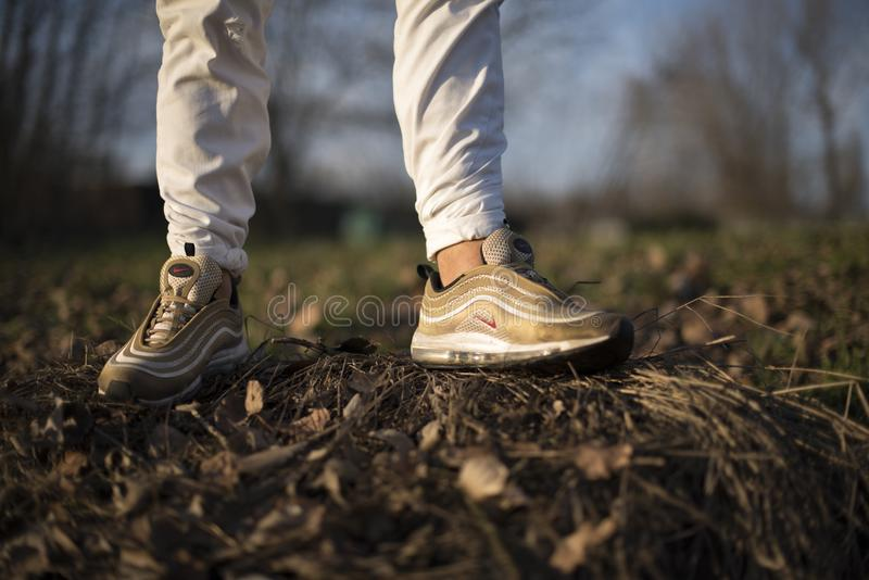 Nike Air Max 97 Gold Shoes In The Street Editorial Stock