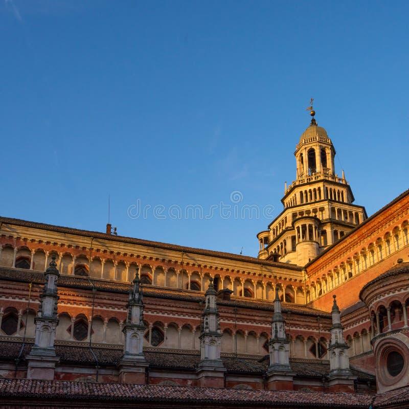 Pavia monasteru renaissance Kartuzjańska architektura przy zmierzchem zdjęcie stock