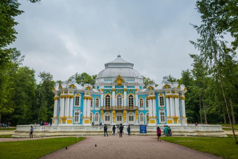Pavilhão 'eremitério 'em Catherine Palace em St Petersburg, Rússia imagem de stock