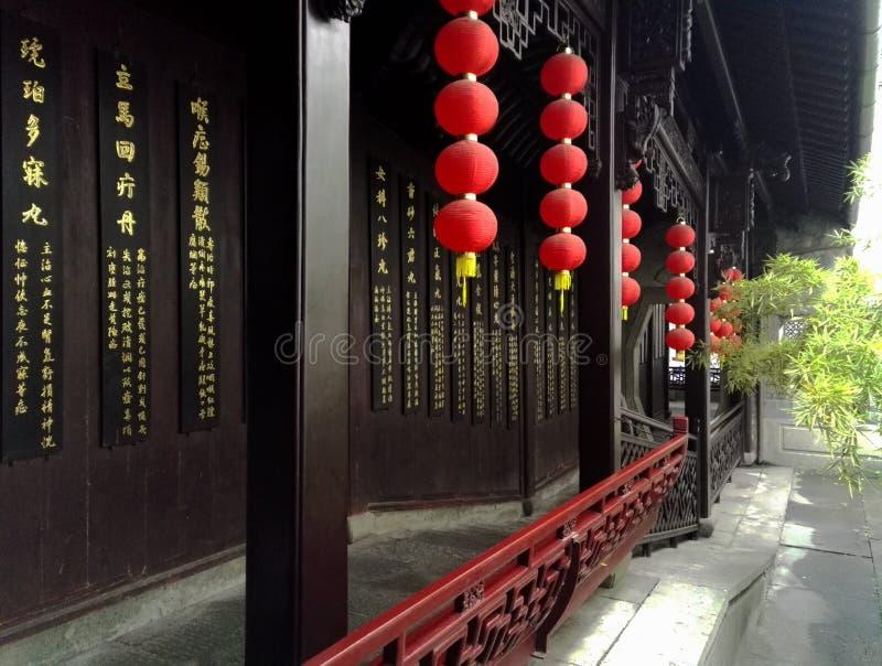 Pavilhão antigo do salão TCM de Huqingyu das construções foto de stock