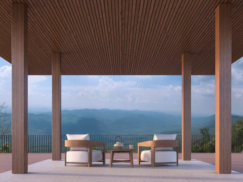 Pavilhão contemporâneo moderno com Mountain View 3d para render ilustração do vetor