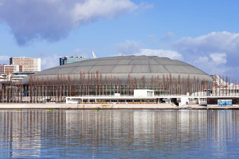 Pavilhão de Atlantico (Pavilhao Atlantico), chamado atualmente arena de MEO, no parque das nações foto de stock royalty free